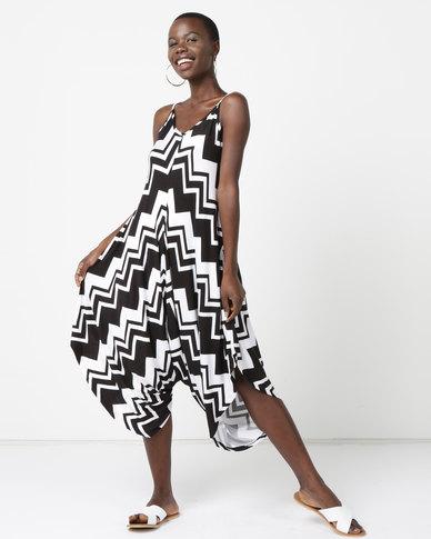 Utopia Knit Jumpsuit Zig Zag Print Black/White