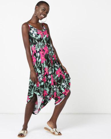 Utopia Knit Jumpsuit Tropical Print Multi