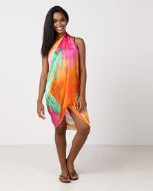UB Creative Silk Sarong Cover Up Orange Multi