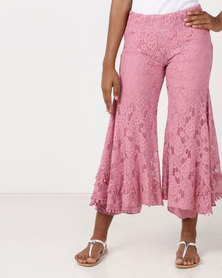 UB Creative Lined Lace Flared Pants Pink