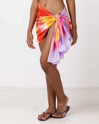 UB Creative Silk Sarong Cover Up Orange Floral