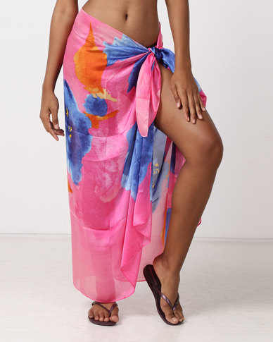 UB Creative Silk Sarong Cover Up Pink Multi