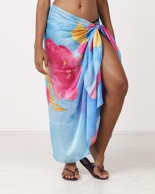 UB Creative Silk Sarong Cover Up Blue Multi