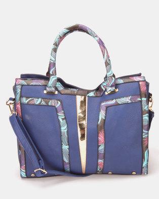 Utopia Printed Trim Handbag Navy/Multi