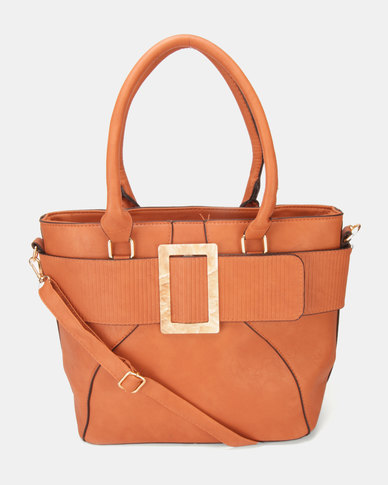 Utopia Buckle Handbag Tan