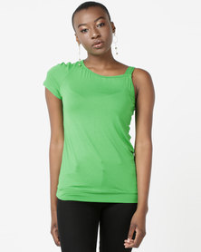 N'Joy One Shoulder Top Green
