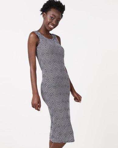 Utopia Sleeveless Bodycon Dress Black/White Geometric Print