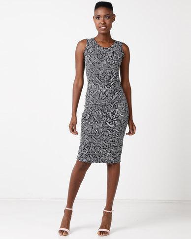 696798d0511b Utopia Sleeveless Bodycon Dress Black White Printed