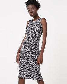 Utopia Sleeveless Bodycon Dress Black/White Arrow Print