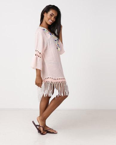 UB Creative Cotton Long Tassel Tunic Pink