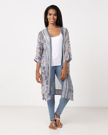 UB Creative Short Sleeve Print Chiffon Jacket Blue