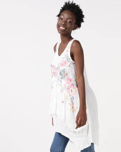Utopia Pleated Tunic With Print White