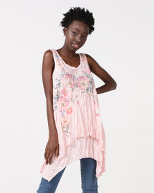 Utopia Pleated Tunic With Print Pink