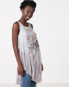 Utopia Printed Pleated Tunic Grey