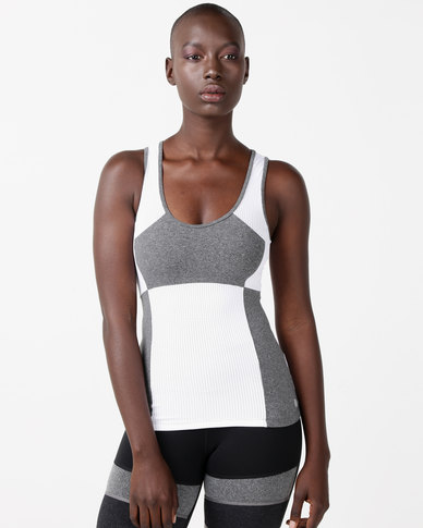 FIT Gymwear Meshrose Singlet Tee White