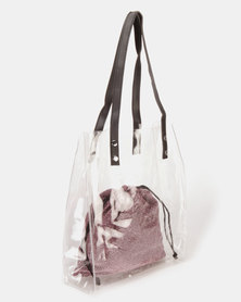 UB Creative PVC Bag With Inner Glitter Pouch Pink