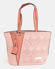 Blackcherry Bag Patterned Shopper Bag Salmon