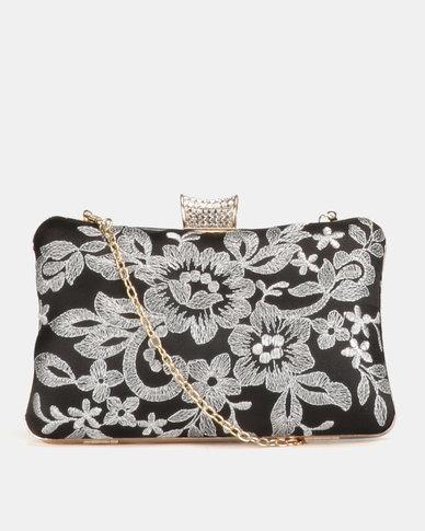 Blackcherry Bag Floral Clutch Bag Black/White