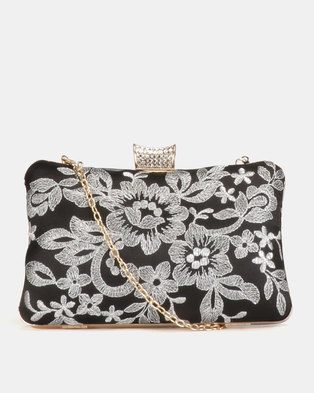 Blackcherry Bag Floral Clutch Bag Black/White