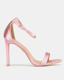 Public Desire Avril Barely There Heels Rose Pink Satin