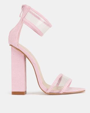 29cf4428886 Public Desire Brink Perspex Cuff High Heels Pink Faux Suede