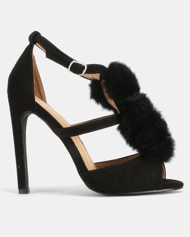 Public Desire Andrea Furry Pom Pom Heels Black