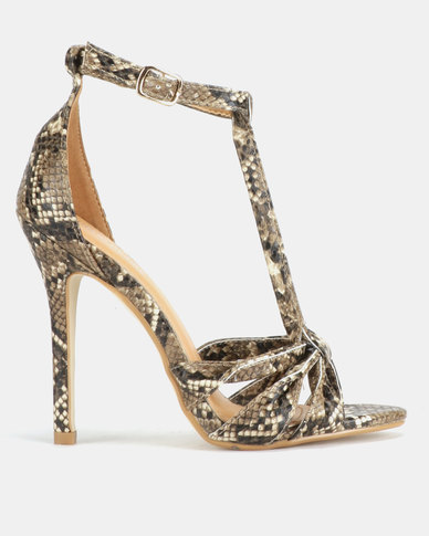 Public Desire Betsy Strappy Heels Snake Print