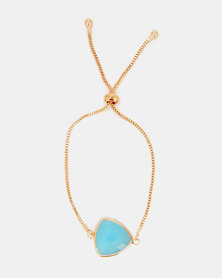 Lily & Rose Triangle Jewelled Bracelet Gold/Turquoise