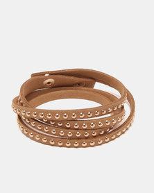 Lily & Rose Studded Stacked Bracelet Brown