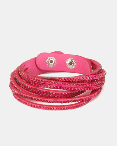 Lily & Rose Diamante Stacked Bracelet Pink