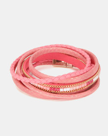 Lily & Rose Braided Stacked Bracelet Pink