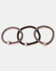 Lily & Rose Multi Strand Bracelet Black &Silver-Toned