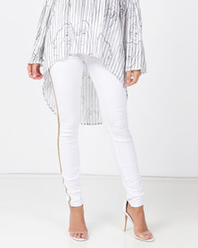 cath.nic By Queenspark Metal Trim Side Stripe Woven Denim Jeans White