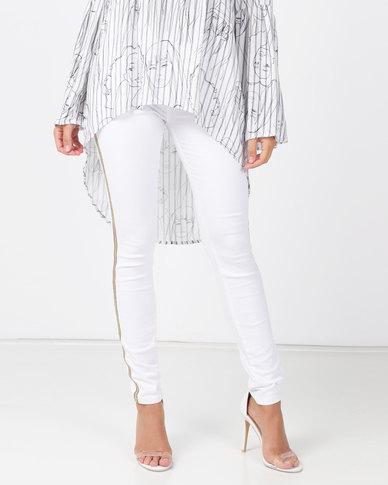 cath.nic By Queenspark Metal Trim Side Stripe Woven Denim Jeans White