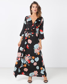 cath.nic By Queenspark Oriental Floral Ruffle Woven Dress Black