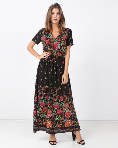cath.nic By Queenspark Border Print Maxi Woven Dress Black