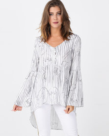 cath.nic By Queenspark Face Print Woven Hi-Lo Top White