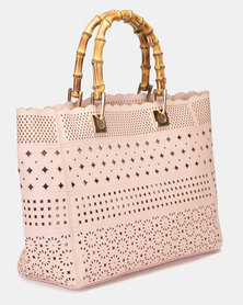 Queenspark Repeat Bamboo Handle Cut Out Bag Pink