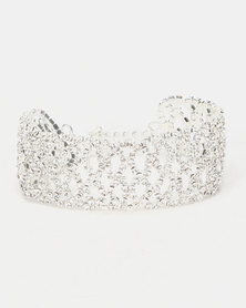 Queenspark Diamond Shape Diamante Bracelet Silver