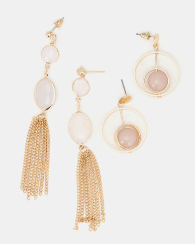 Queenspark Long Chain Tassel and Drop Earrings Gold