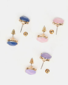 Queenspark 3Pk Coloured Stone Studs Earrings Multi