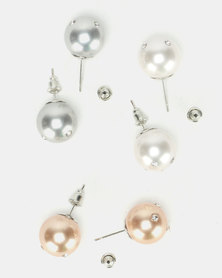 Queenspark 3 Pack Pearl Set with Mini Diamantes Earrings Multi