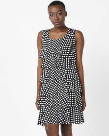 Queenspark Spot Design Ra Ra Knit Dress Black & White