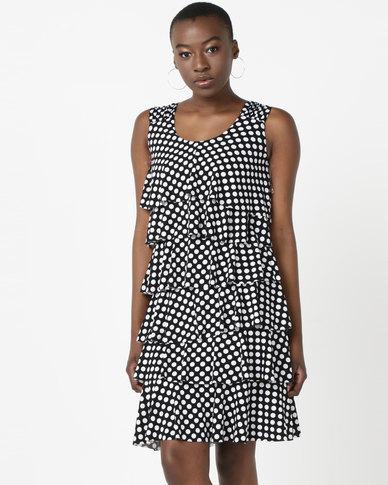 Queenspark Spot Design Ra Ra Knit Dress Black & White