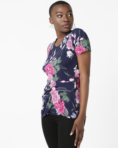 Queenspark Knot Detail Printed Knit Top Navy