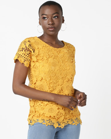 Queenspark Shimmer Beach Lace Woven Blouse Mustard