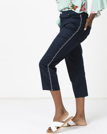 Queenspark Pearl Trimmed Woven Capri Navy