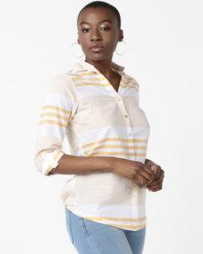 Queenspark Voile Fine Stripe Woven Shirt Mustard
