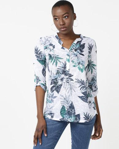Queenspark Palm Front Burnout Mandarin Fashion Knit Top Multi