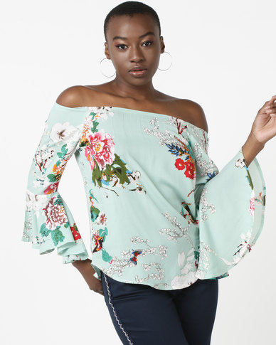 Queenspark Mint Printed Floral Blouse Mint